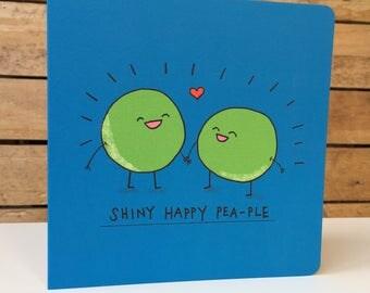 Happy Pea-ple - Square Greetings Card