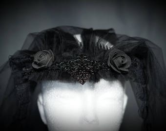 Black Red veil with roses