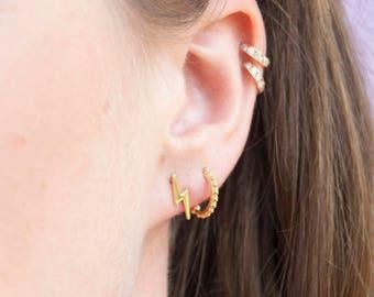 Tiny lightning bolt earrings - tiny gold stud earrings - tiny stud earrings - bolt studs - zodiac -gold earrings - cosmic earrings - E26535
