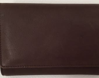 Vintage new with tag Princess Gardner trifold clutch wallet brown leather