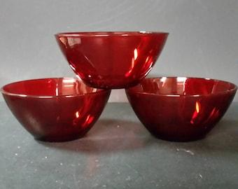Vintage ruby red  Arcoroc AP bowls.  Set if 3.  5 inch bowls