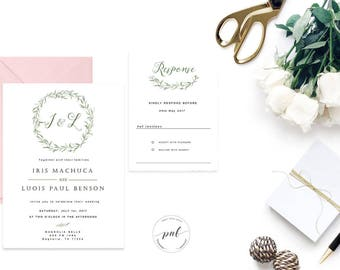 Green Wreath Wedding Invitation Suite, Printable Watercolor Wedding Invitation with RSVP, Greenery Leaves Wedding Invitations Template