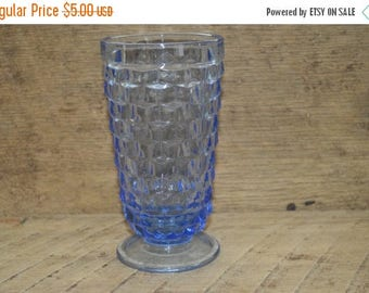 On Sale Vintage Blue Glass Footed Tumbler