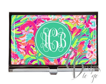 Monogram Business Card Holder -  Monogram Business Card Case -  Unique Gift - Personalized - Initials - Lilly LuLu Preppy