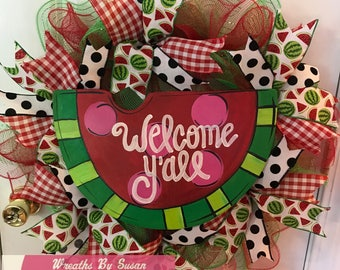 summer watermelon deco mesh wreath