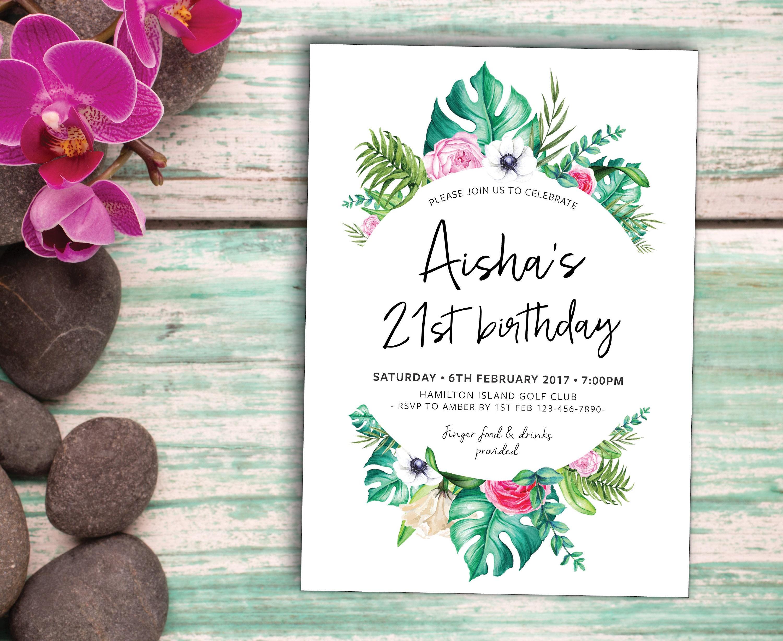 Tropical palm birthday invitation, birthday invite, beach, summer ...
