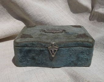Vintage French Velvet Boudoir Jewellery Trinket box