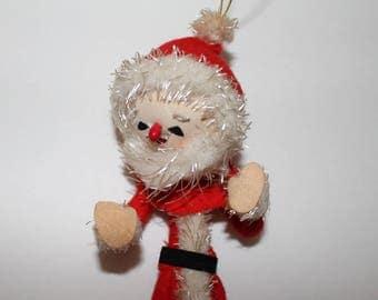 Vintage Santa Ornament, Vintage Christmas Ornament, Red & White Ornament , Vintage Elf, Elf Santa Ornament