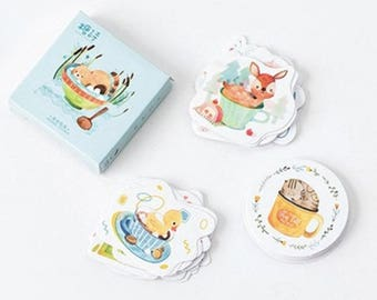 Animals chillaxing in strange places cute kawaii kitsch box of stickers