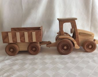Tractor, farm tractor, wooden tractor, tractor and wagon