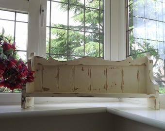 Vintage French Wooden Shelf or Plate Rack Painted Cream and Distressed