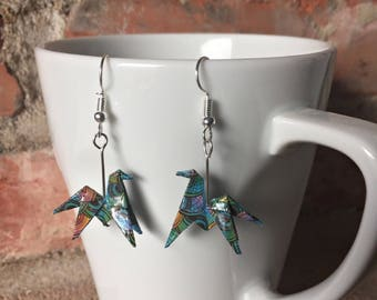 Origami paper colored horses earrings