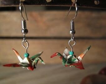 Washi paper cranes origami earrings