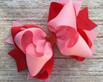 Double stacked hair bows, big hair bows, pink hair bows, red hair bows, valentines hair bows, double stack bows, pink and red bows