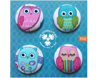 Cute Owl Button, Badge, Brooch, Ponytail Holder, Elastic Hair Tie   Fabric on Metal   Pin, Party favor, Goody bag filler
