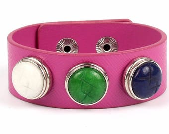 New Custom Genuine Leather Dark Pink 3 Snap 18mm Interchangeable Snap Bracelet for Teens and Women - Adjustable - Snaps Included