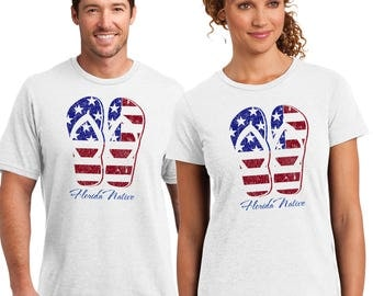 Kick back in your Florida Native Flip Flop Flag, Mens & Ladies T-shirt, 4 th of July Fun for all.