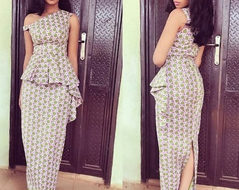 Off-Shoulder Ankara Maxi Dress with Cascading Peplum and Back Slit