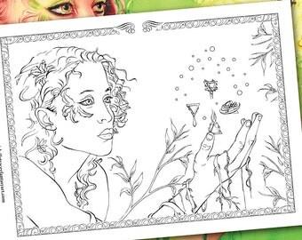 Spirit & Fantasy Coloring Book Fairy Angels Dragons