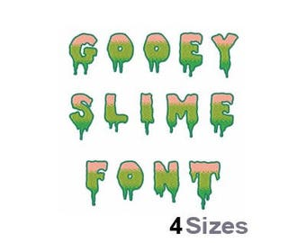 Gooey Slime Letters And Numbers - Machine Embroidery Font - 4 Sizes, Lettering, Letters, Alphabet, Numerals, Font Set, Halloween Font