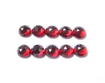 10 pcs 7mm Red Garnet rose cut round cabochon gemstone, Wholesale Lot 100% Natural Red Garnet Round Rose cut cabochon round loose Gemstone