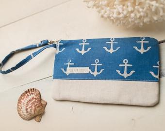 Small Katrina Pouch, Blue Anchors and Natural