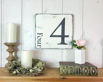 Family number sign | rustic wood sign | number sign | four sign | custom number sign | family sign, gallery wall decor | farmhouse |11.25x12