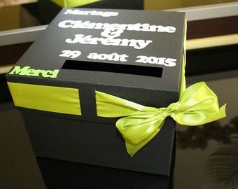 Urn wedding anniversary christening black and lime green