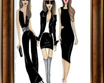 Three Little Black Dresses, three friends in black, fashion illustration print