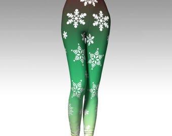 Snowflake Leggings, Ombre Leggings, Green Leggings, Winter Leggings, Winter Fashion, Premium Leggings, Performance Leggings, Luxury Leggings