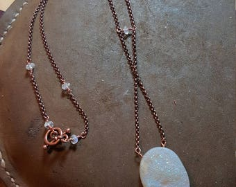 Dreamy druzy quartz with moonstone necklace