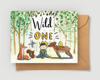First Birthday Card - Wild One - One Year Birthday - Blank Card