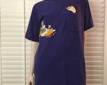 Looney tunes embroidered taz and bugs pocket shirt