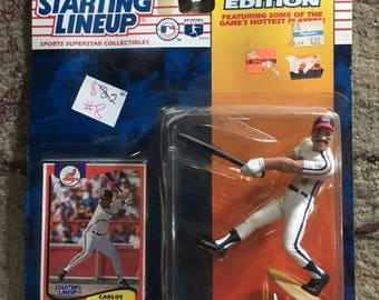 Carlos Baerga Starting Lineup Action Figure Cleveland Indians On Card 1994