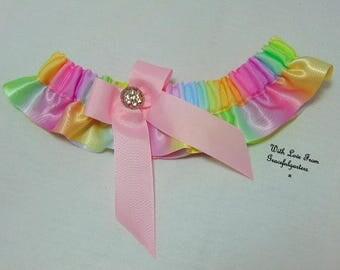 Pastel Rainbow skirted Bridal Wedding Garter