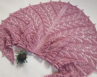 Beauty gift Gift for girlfriend Hand Knit Lace wrap shawl Gift for her Soft shawl  Winter Shawl wool shawl Pink Gift for mom Knitted shawl
