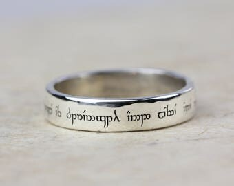 secret message elvish ring wedding band personalised lord of the rings personalized - Lord Of The Rings Wedding Rings