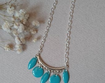 Long bohemian necklace with enamel turquoise blue