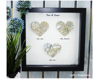 We met We married We Live. Heart Map Print. Wedding Gift. Anniversary Gift. Engagement gift. Paper Anniversary gift. Valentines Gift. Couple