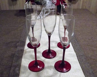 Cristal D'Arques-Durand *-* CHERRY *-* Fluted Champagne Glasses, Set of 5