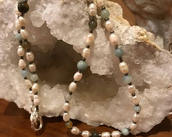 Pearl and various gemstones necklace