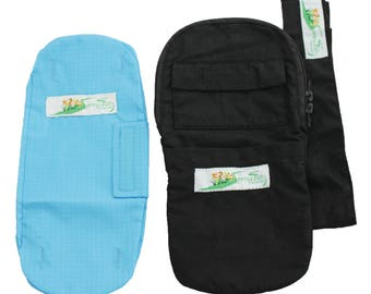 Combo - Nephrostomy Outer Bag Cover, Tube Covering Solid Black and Leg Bag Seaport Blue