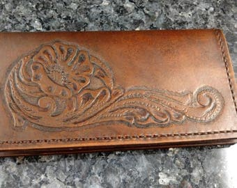 Leather Checkbook Cover, Checkbook Cover, Coupon Holder, Leather Wallet, Carved Leather Checkbook Cover, Credit Card Holder, Wallet