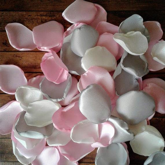 Light Pink Wedding Decor Ivory Rose Petals Silver Rose Petals
