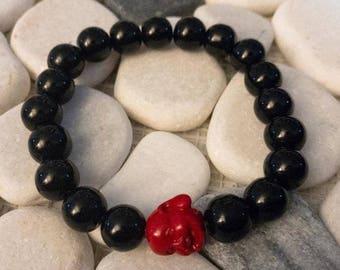 Red Buddha w/ Black Beads
