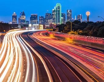 Dallas Night Skyline, Dallas Texas Art, Cityscape Art, Street Photography, Dallas City Skyline, Night Photography, Gregory Ballos Fine Art