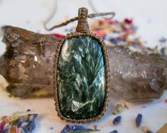 Seraphinite Necklace ~ Seraphinite Pendant ~ Macrame Pendant ~ Macrame Necklace ~ Handmade ~ Healing ~ Macrame Jewelry ~ Angels ~ Nurture