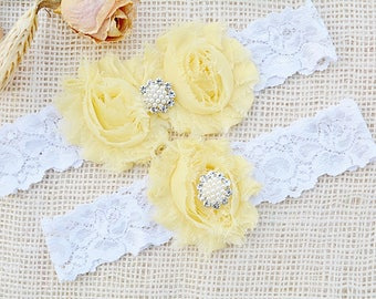 Light Yellow & White Wedding Garter Set, Choose Rhinestone or Pearl, 48+ Colors White Lace Garter Set, Plus Size Garter, Wedding Accessories