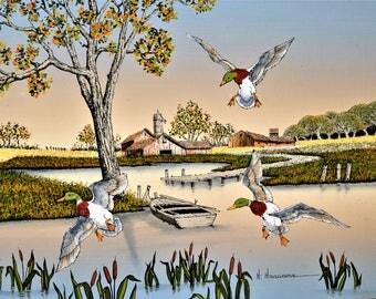Canvas Print on Canvas Seriograph H. Hargrove Ducks