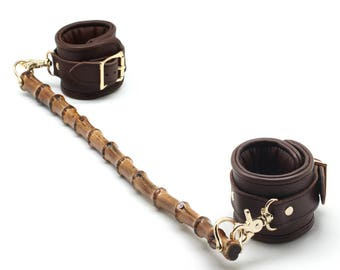 BDSM Ankle cuffs with spreader bar,Padded cuffs, Brown cow Leather, bamboo, BDSM, restraints, Sex toys, bdsm spreader (mature)